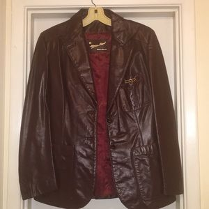 Etienne Aigner Women's Burgundy Leather Jacket